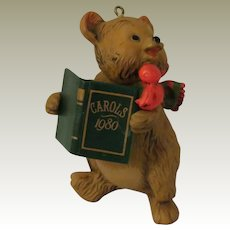Hallmark Caroling Bear 1980 Christmas Ornament from the Tree Trimmer Collection