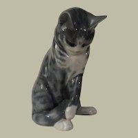 Royal Copenhagen Grey Tabby Cat Poreclain Figurine Model 340