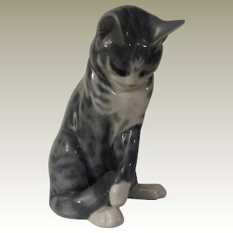 Royal Copenhagen Grey Tabby Cat Poreclain Figurine Model 340