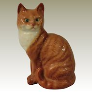 Beswick Dark Ginger Cat Seated with Head Looking Forward Figurine Model No. 1031