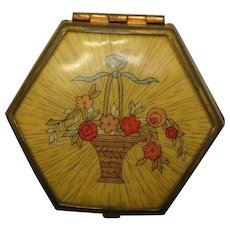 Houbigant Flower Basket Powder and Rouge Compact c 1930s