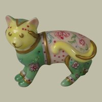 Franklin Mint Curio Cabinet Cat Famille Rose