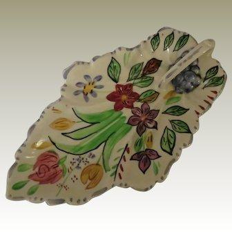 Blue Ridge Southern Potteries Summertime Leaf Celery Dish