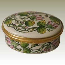 Halcyon Days Floral Enamel Box with Pink Flowers