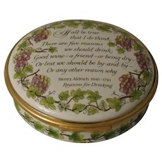 Halcyon Days Reasons For Drinking Large Round Enamel Box
