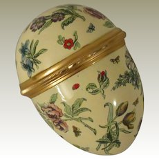 Halcyon Days Bilston & Battersea Large Yellow Egg Shaped Floral Enamel Box with Butterflies