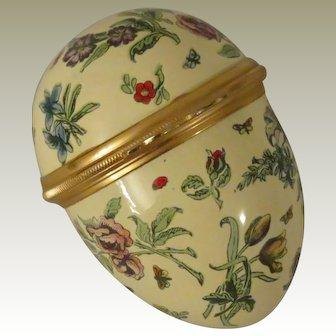 Halcyon Days Bilston & Battersea Large Yellow Egg Shaped Floral Enamel Box with Butterflies