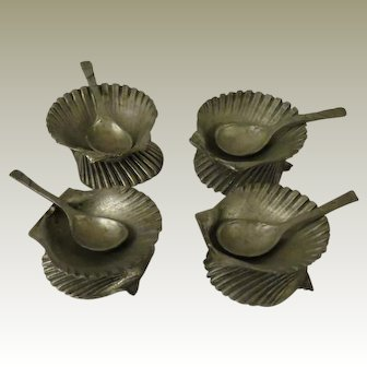 Metzke Pewter Double Seashell Salts and Spoons Set