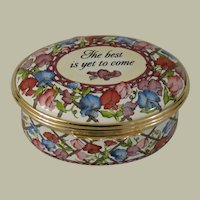 Halcyon Days The Best Is Yet To Come Floral Enamel Box