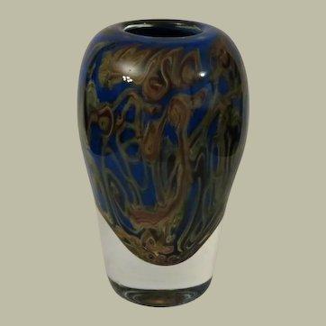 Signed Christopher Belleau Encased Cobalt Glass Art Glass Vase