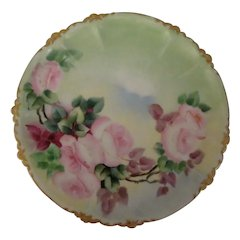 Antique Phillip Rosenthal & Co Hand Painted Porcelain Claire Pink Roses Plate