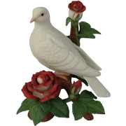 Lenox Christmas Dove Porcelain Figurine with Red and White Roses Dated 1996