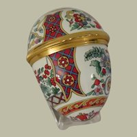 Halcyon Days Large Egg Shaped Floral Enamel Box with Stand