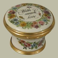 Halcyon Days  With Much Love 1983 Mother's Day Basket Shaped Enamel Box
