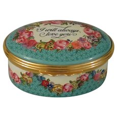 Halcyon Days  I Will Always Love You Oval Enamel Box
