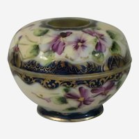 Hand Painted Nippon Porcelain Hair Receiver with Violets