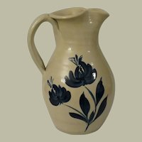 Williamsburg Pottery Salt Glazed Hand Thrown Pitcher with Blue Florwers