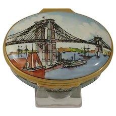 Halcyon Days Brooklyn Bridge Centennial Enamel Box Designed by Tiffany & Co