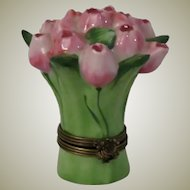 Limoges France Hand Painted Porcelain Tulip Box by Chamart