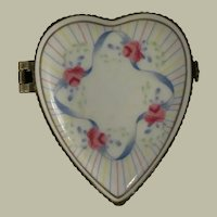 Porcelain Hand Painted Heart Shaped Trinket Box with Blue Ribbons and Pink Roses