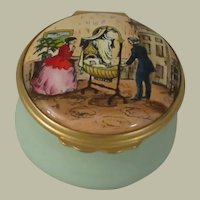 Halcyon Days Enamel Box with Couple Adoring Their Baby in Bassinet