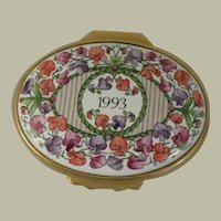 Halcyon Days Enamels 1993 Year to Remember Enamel Box with Flowers