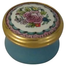 Halcyon Days Mini Enamel Box with Pink Rose Surrounded by Tiny Flowers