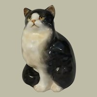 Royal Doulton Black and White Persian Cat Seated, Style I  Model HH999