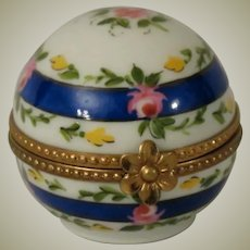 Limoges Hand Painted Domed Porcelain Box with Cobalt Blue Bands and Tiny Roses