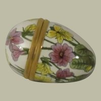 Halcyon Days Mini Egg Shaped Enamel Box with Yellow and Purple Flowers