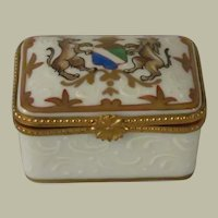 Limoges France Porcelain Box with Stag and Lion Crest