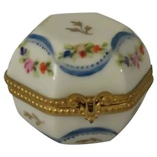 Limoges France Porcelain Hexagonal Shaped Trinket Box with Tiny Flowers and Blue Ribbons