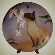 Nose In Bloom by Irene Spencer Cats and Flowers Collector Plate with Siamese Cat
