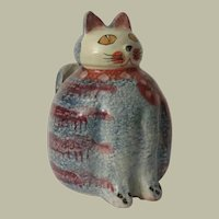 Hand Painted Italica ARS Pottery Fat Cat Holder or Vase