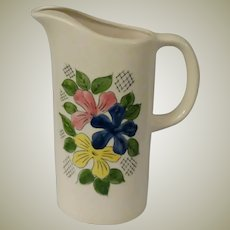 Norleans Ceramic Juice Pitcher With Hand Painted Under Glaze Flowers Made in Japan
