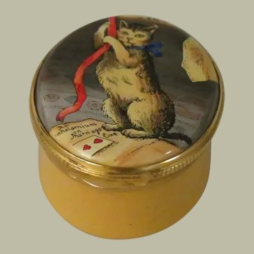 Crummles Cat Enamel Trinket Box with Detail from The Honey-Moon by John Collett