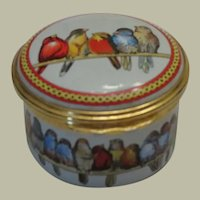 Halcyon Days  Birds on a Wire Enamel Box for Chicago Art Institute