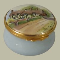 Kingsley Enamels Hand Painted Cottage on a Road Enamel Trinket Box
