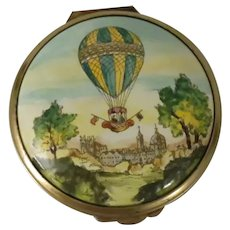 Halcyon Days Bilston & Battersea Large Enamel Box Depicting a Hot Air Balloon