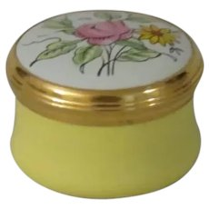 Crummles Mini Enamel Trinket Box Adorned with a Pink Rose and Yellow Daisy