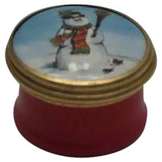 Halcyon Days Bilston Battersea Mini Enamel Box with a Snowman