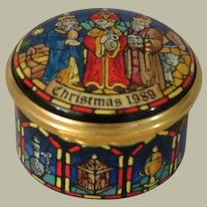 Halcyon Days Christmas 1989 Enamel Box with the Three Wise Men