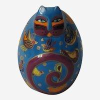 Laurel Burch Fluttering Feline Egg Shaped Cat Figurine by Franklin Mint