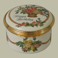 Halcyon Days Happy Birthday Enamel Box with Presentation Box