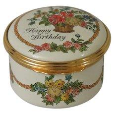 Halcyon Days Happy Birthday Enamel Box with Presentation Box