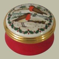 Halcyon Days Birds in the Snow Enamel Box