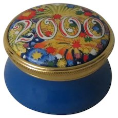 """Signed Staffordshire Enamels """"2000"""" Mini Enamel Box from the Millennium Collection"""