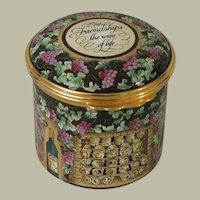 Halcyon Days Friendship's the Wine of Life Tall Enamel Box with Presentation Box
