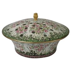 Halcyon Days Enamels Enamel Over Copper Floral Potpourri Box or Covered Container