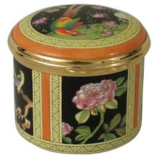 Halcyon Days Enamel Box Featuring Chinese Birds and Flowers Based on Ancient Chinese Screen